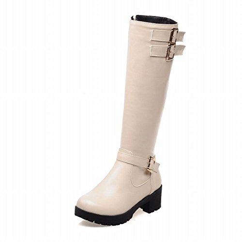 Latasa Womens Vintage Buckle Strap Side Zipper Platform Mid Chunky Heel Knee High Riding Boots Beige 2U94huUad