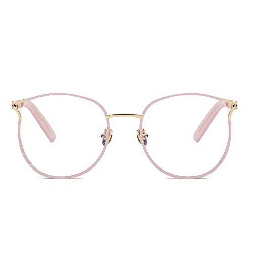 Blue Light Filter Computer Glasses for Blocking UV Headache Anti Eye Eyestrain Transparent Lens VL9007 Pink ()