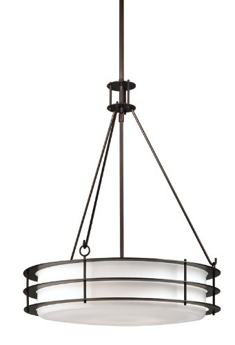 - Forecast Lighting F1542-68U Hollywood Hills Two-Light Energy Efficient Pendant with Etched White Opal Glass, Deep Bronze