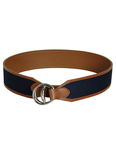 [Lauren Ralph Lauren Women's Navy Blue Canvas with Brown Trim Equestrian Belt (Large)] (Belted Canvas Belt)