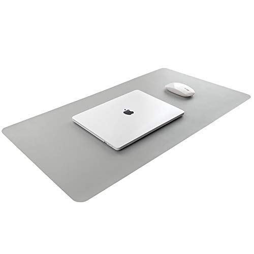 Large Mouse Pad, for Keyboard and Mouse, 35x17.7 inches, Natural Rubber, Locking Edge, Smooth Leather, Scratch-resistant, Bandage Easy Storage (Gray) ()