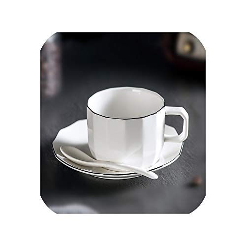 (Ceramic Tea Cup and Saucer Set Chinese Coffee Cup Set Afternoon Porcelain Black Tea cup,1 cup)