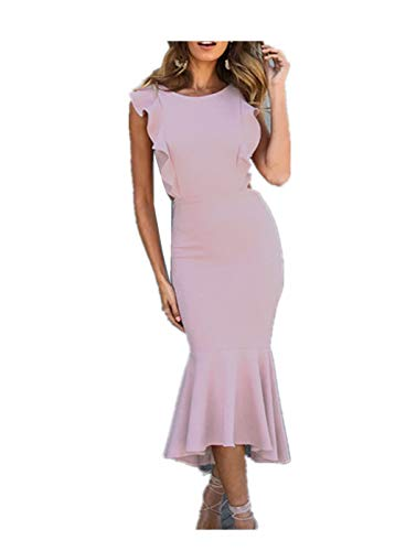 ZXLLZ Dress Solid Color Comfortable Ruffled Skirt Slim Sexy Backless Dress Woman(Pink,XL)