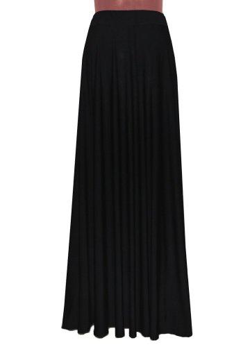 E K Women's plain cotton jersey plus size skirt Long casual pull on flowing maxi-2x-3x