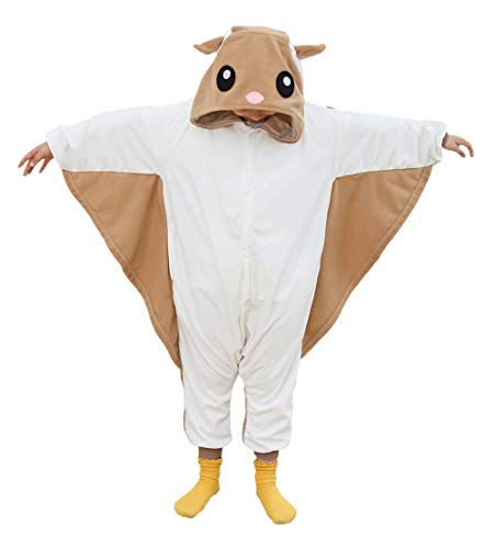 Kids Animal Onesie Flying Squirrel Cosplay Costumes Onesie Halloween Sleepwear for Girls Boys(8-10 Years)]()
