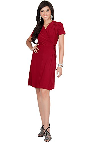 - KOH KOH Petite Womens Kaftan Short Sleeve Wrap Cover up Ups Sexy Swing Summer Casual Flowy Sundress V-Neck Tunic Cute Knee Length Stretchy Midi Mini Dress Dresses, Red S 4-6