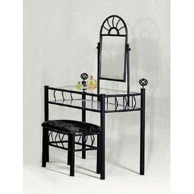 sunburst design black vanity set table mirror and bench - Black Vanity Set