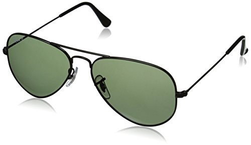 Ray-Ban AVIATOR LARGE METAL - BLACK Frame CRYSTAL GREEN POLARIZED Lenses 55mm Polarized by Ray-Ban