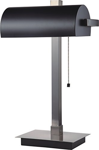 Contemporary Lamp Bankers (SH Lighting 31187SN-BK Banker Style Lamp with Pull Switch, Silver/Black)