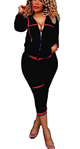 Two Large Zipper (Bestdress Women's 2 Piece Set Bodycon Zipper Jacket Suit Carpri Pants Tracksuits Large Black)