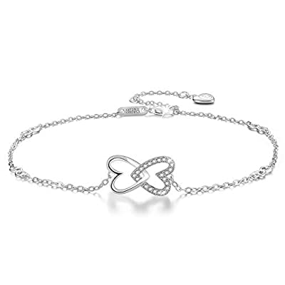 Esberry?Gifts for Mother's Day with Gift Wrap?18K Gold Plated 925 Sterling Silver 5A Cubic Zirconia CZ Double Love Heart Ankle Bracelets Charm Adjustable Foot Jewelry for Women and and Teen Girls