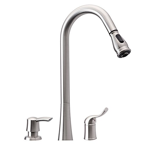 Single Hole Faucet Set - 3 Hole Kitchen Sink Faucet with Pull Down Spray Side Single Handle with Soap Dispenser Brushed Nickel Peppermint