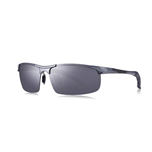 BEALER Men's Polarized Sunglasses Aluminum Magnesium Frame Sports Sunglasses for Men UV400 Mirrored Lens (Gunmetal Grey Frame/Grey Lens) ()