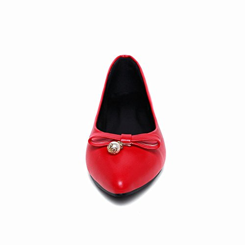 Foot Flats Charm Toe Pointed Foot Womens Charm Womens Red Pumps Bow UU6Hq