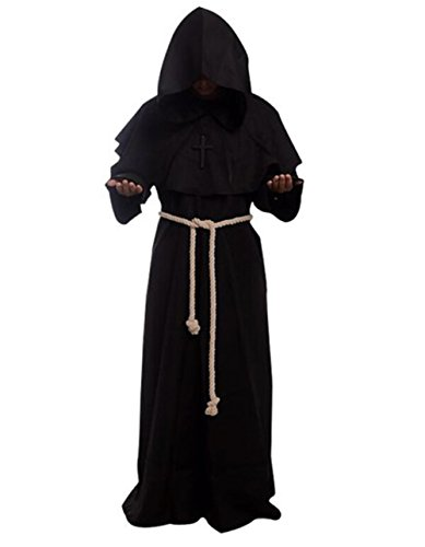 Costume for The Medieval Monks Priest Robe Hooded Cosplay Various Styles (X-Large, Black)