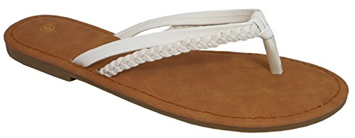 Cambridge Select Dames Slip-on Geweven Gevlochten Strappy String Flip-flop Platte Schuif Sandaal Wit