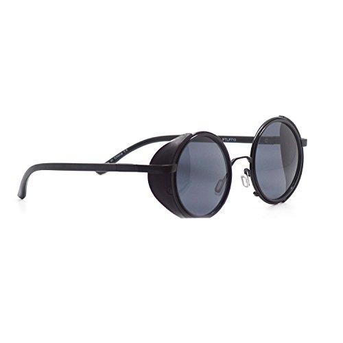 lentilles Steampunk Protection de UVB bleu avec des argent miroir lunettes UVA Adultes Noir obturateur noires soleil or brun des noir Uw008d