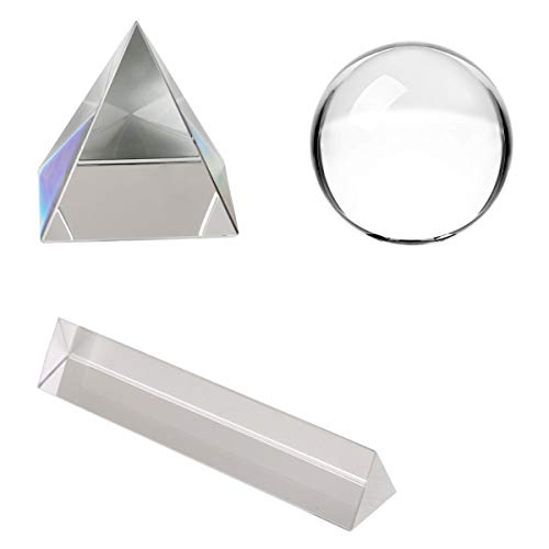 UNIME Clear Crystal Ball Crystal Pyramid Optical Crystal Glass Triangular Prism for Teaching Light Spectrum Physics and Photo Photography Prism Art Decor