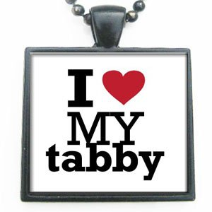 I Love Heart My Tabby Glass Tile Pendant Necklace with Black Chain (Tabby Tiles)