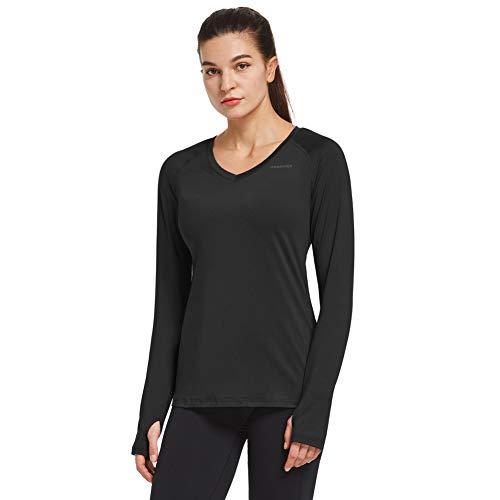 Ogeenier dames loopshirt lange mouwen T-shirt sportshirt ademend training yoga shirt met duimgat