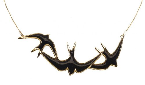 Gold Plated Silver 3 Swallow Necklace Pendant Black Polymer Clay Handmade Bird Jewelry, 16.5