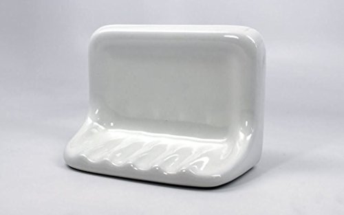 Squarefeet Depot Bath Accessory Shower Soap Dish White Ceramic Thinset Mount (Ceramic Shower Accessories)