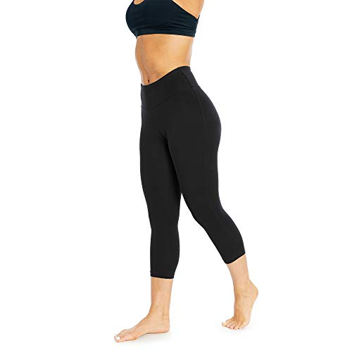 Women's Activewear Control Top Leggings | Designer Quality High Waist Yoga Pants with Tummy Control | 18'' Black - Capri Leggings Medium