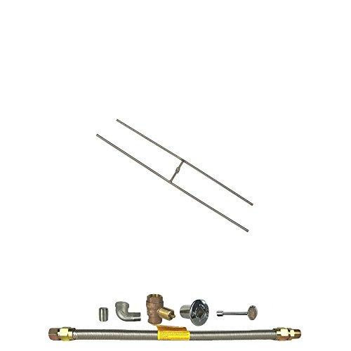 Spotix HPC Rectangle H-Burner Fire Pit Burner Kit (FPS-HBSB18KIT-NG-MSCB), 18x6-Inch Burner, Match Light, Natural Gas