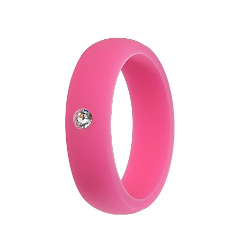 Simpleonly Women Silicone Wedding Band with Rhinestone Diamond, hot Pink Rubber Bands Elastic Non Metal for Mechanic Workout, Athlete Exercise, - Diamond Pink Rubber