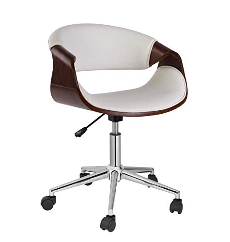 Porthos Home  Adjustable Office Chair with 360-Degree Swivel, PVC Upholstery and Wheels (Mid-Century Style, Various Colors) Furniture, One Size, White