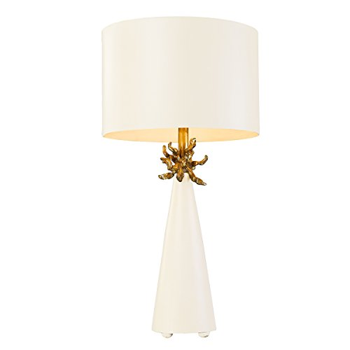 Flambeau Lighting TA1260 Neo White Table Lamp, French White Cone with Gold Leafed Anemone and Lamp (Anemone Lamp)