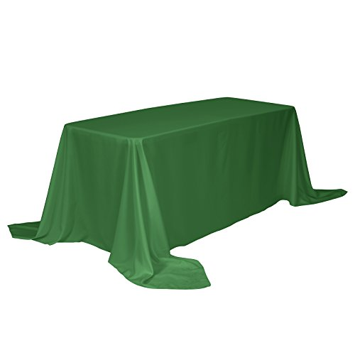 VEEYOO Rectangular Tablecloth 100% Polyester Oblong Table Cloth for Bridal Shower - Solid Soft Oval Table Cover for Wedding Party Restaurant Party Buffet Table (Green, 90x132)