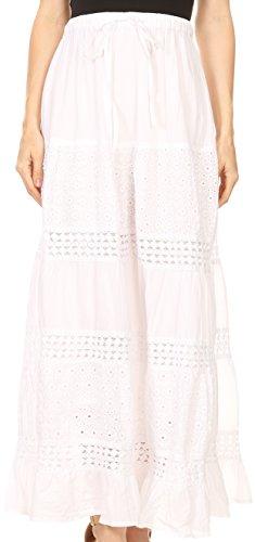 Gorgeous White Eyelet - Sakkas 5290 - Genesis Lightweight Cotton Eyelet Skirt with Elastic Waistband - White - OS