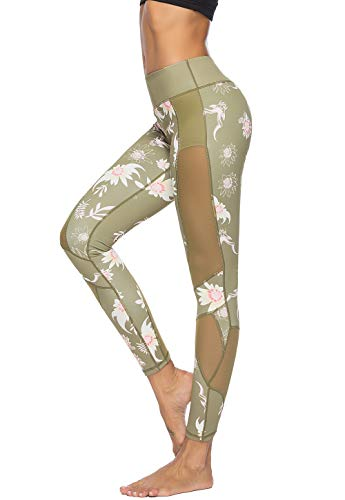 Mint Lilac Women's Printed Full-Length Leggings Athletic Workout Pants with Mesh Panels X-Large Green