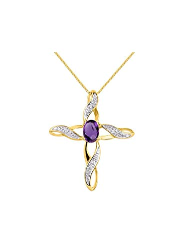 - Diamond & Amethyst Cross Pendant Necklace Set In Yellow Gold Plated Silver .925 with 18