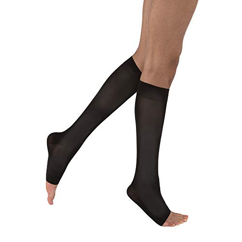 JOBST Opaque Knee High 20-30 mmHg Compression Stockings, Open Toe, Small, Classic Black -