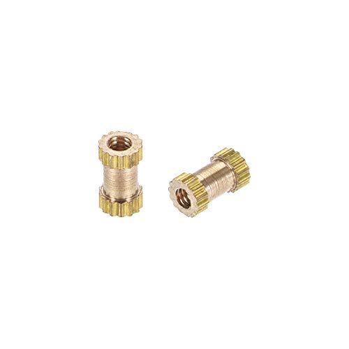 (uxcell Knurled Insert Nuts, M2 x 6mm(L) x 3.5mm(OD) Female Thread Brass Embedment Assortment Kit, 20 Pcs)