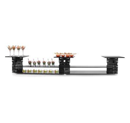 Rosseto SK022 10 Piece Skycap Steel and Glass Multi-Level Buffet Riser Kit, Black Matte by Rosseto