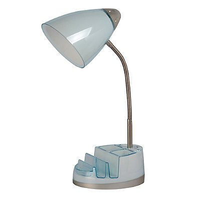 Equip Your Space Tablet Organizer Outlet/USB Desk Lamp (Spa (Spa Blue Lamp Shade)