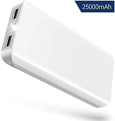 Batería Externa Power Bank 25000mAh Cargador Portátil con Ultra Alta Capacidad, Puertos Dobles y Linterna LED de 4 Modos para IPhone X 8 7 6 Puls, ...