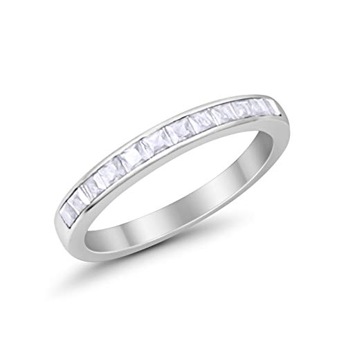 Blue Apple Co. 3mm Princess Cut Half Eternity Wedding Band RingSimulated Cubic ZirconiaCubic Zirconia 925 Sterling Silver Size-5