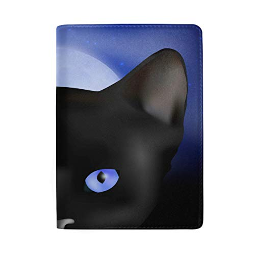 Black Cat Real Leather Passport Holder Wallet Case Cover for Men Women by Hulahula