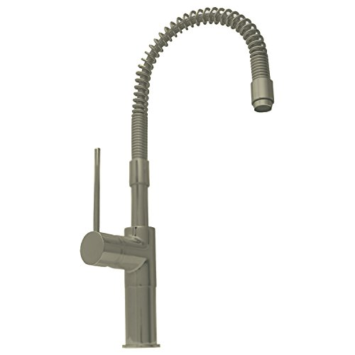 Metrohaus Metrohaus Single Hole - Whitehaus WHLX78558-BN-PVD Metrohaus 7 5/8-Inch Commercial Single Hole Faucet with Flexible Spout and Lever Handle, Brushed Nickel