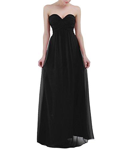Freebily Vestido Largo Elegante Mujer Chica para Fiesta Cóctel Graduación Boda Vestido de Noche Negro