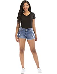 Women's Distress Ripped Elastic Denim Pants Blue Shorts Jeans