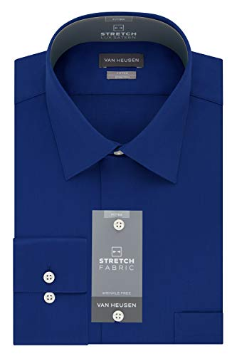 Van Heusen Men's Dress Shirts Fitted Lux Sateen Stretch Solid Spread Collar, Blue Velvet, 18.5