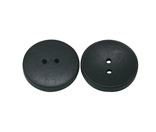 Wuuycoky Black Wood Button Round 25mm Diameter with 2 Holes for Craft Sewing DIY Pack of 30