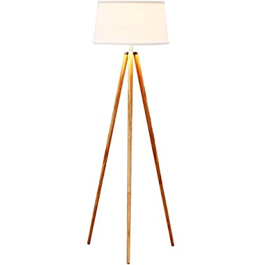 Brightech – Emma Tripod Floor Lamp – Classic Design for Contemporary or Traditional Living Rooms – Soft Ambient Lighting – Made with Natural Wood