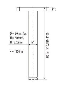 Juego de patas extensibles de mesa Set de 4 unidades Sossai/® Premium TBCH Altura regulable 820 mm /Óptica de cromo 20 mm