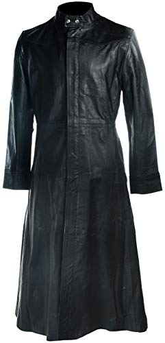 Gothic Trench Coat Men - Black Leather Coats for Men - Long Trench Coat (L/Body Chest 42